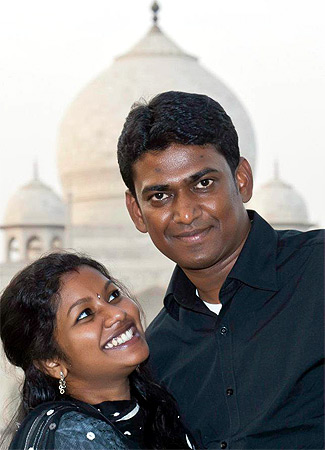 Asha with her husband Alex Paul Menon on a holiday
