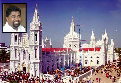 The Velankanni church in Tamil Nadu's Nagapattinam district where a miracle is said to have taken place. (Inset) Sanal Edamaraku, president, Indian Rationalists Association
