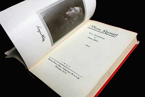 A copy of Mein Kampf, The Vol 1 (of 2), First Edition, signed by Adolph Hitler