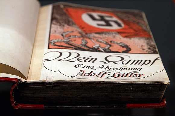 The book 'Mein Kampf' by Adolf Hitler is pictured at the German Historical Museum