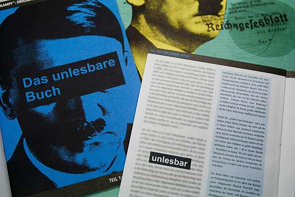 A magazine supplement with an image of Adolf Hitler and the title 'The Unreadable Book' is pictured in Berlin January 26, 2012. Excerpts from Hitler's Mein Kampf were wiped from the magazine supplement before it went on sale in Germany following the threat of legal action from the state of Bavaria