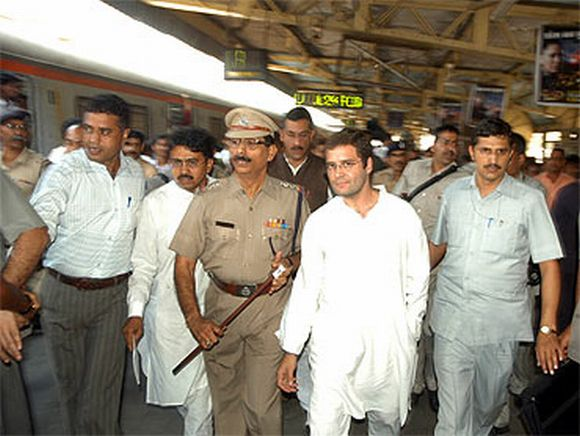 Rahul Gandhi about to board a suburban local train during his last visit to the city in Feb, 2010