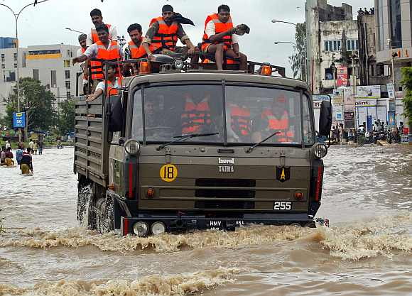 Indian Army soliders during a flood rescue operation in Surat