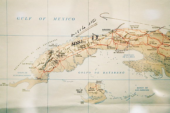 This map of Cuba annotated by former US President John F Kennedy is displayed for the first time at the John F. Kennedy Library in Boston, Massachusetts. Former President Kennedy wrote Missile Sites on the map and marked them with X's when he was first briefed by the CIA on the Cuban Missile Crisis on October 16, 1962