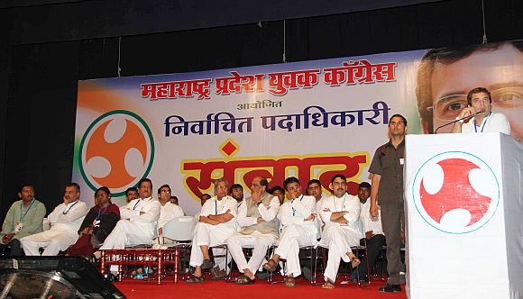 Rahul Gandhi addresses Youth Congress and NSUI workers in Mumbai on Friday. The meeting was also attended by Maharashtra CM Prithviraj Chavan and MPCC chief Manikrao Thakre among others