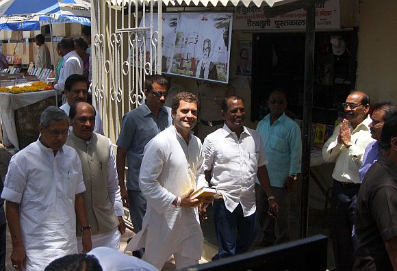 Rahul Gandhi visits B R Ambedkar's memorial Chaityabhoomi at Dadar, Mumbai with other Congress leaders, on Friday
