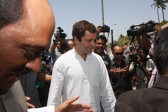 Rahul Gandhi is seen with Manikrao Thakre entering Chaityabhoomi on Friday