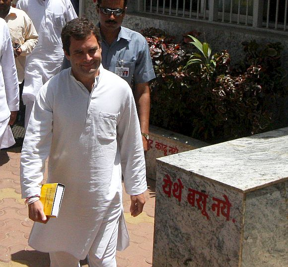 Rahul Gandhi at Chaityabhoomi on Friday