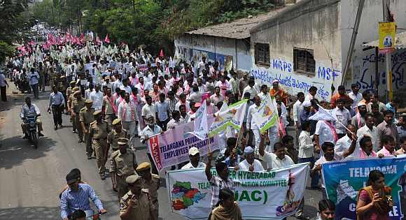 Telangana supporters participate in a protest in Hyderabad