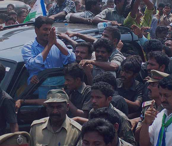 YSR Congress President Jaganmohan Reddy greets his supporters