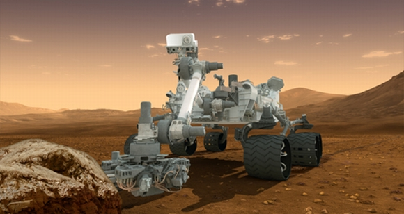An illustration of Curiosity rover on the Martian surface