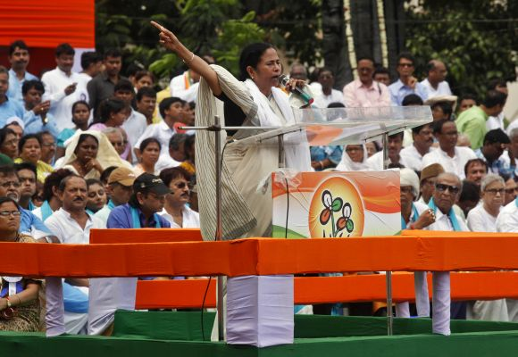 Chief Minister of West Bengal Mamata Banerjee addresses supporters during a rally in Kolkata