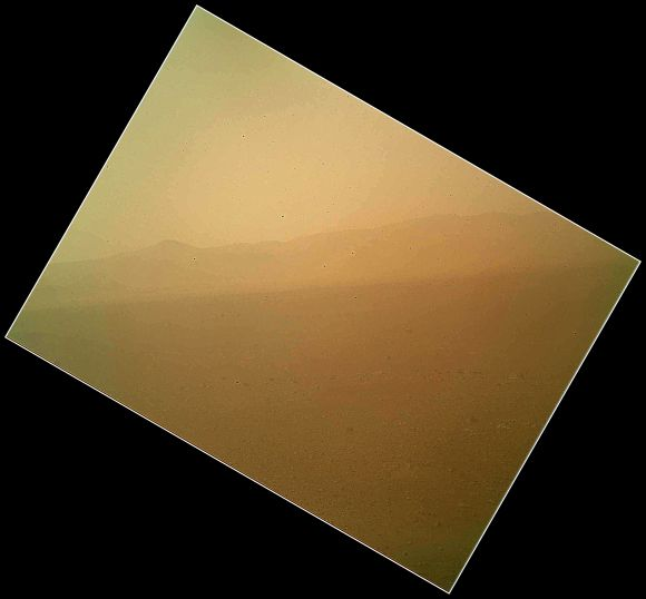 This view of the landscape to the north of NASA's Mars rover Curiosity was acquired by the Mars Hand Lens Imager on the afternoon of the first day after landing.