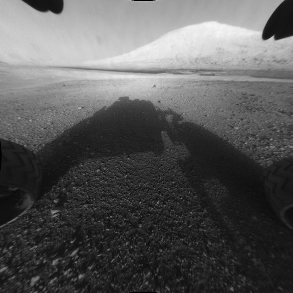 This image taken by NASA's Curiosity shows what lies ahead for the rover -- its main science target, Mount Sharp.
