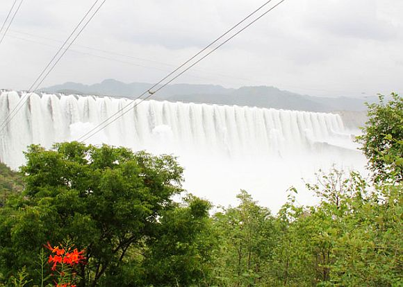 An overflowing Sardar Sarovar Dam on Narmada river on Wednesday