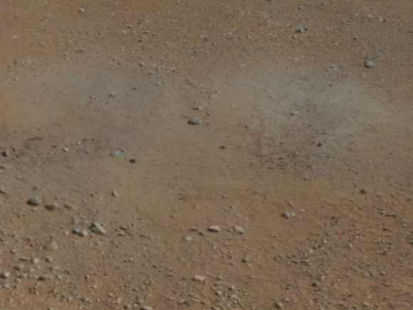 This cut-out from a colour panorama image taken by NASA's Curiosity rover shows the effects of the descent stage's rocket engines blasting the ground. It comes from the right side of the thumbnail panorama obtained by Curiosity's Mast Camera