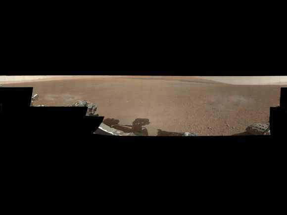 This is the first 360-degree panorama in colour of the Gale Crater landing site taken by NASA's Curiosity rover