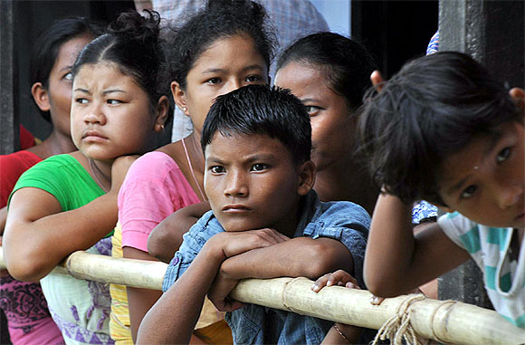 Teenagers affected by ethnic violence inside a relief camp at Deborgaon in Kokrajhar district