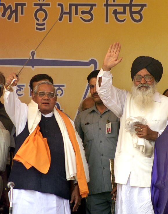 Former PM Atal Bihari Vajpayee with Shiromani Akali Dal President Parkash Singh Badal