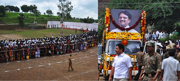 Thousands gathered in Babhalgaon to pay their final respects to Union minister Vilasrao Deshmukh