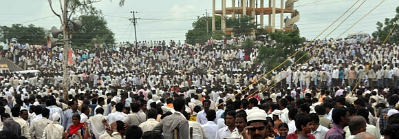 Thousands of Deshmukh's supporters throng his native Babhalgaon village