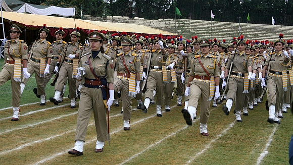 Jammu and Kashmir women police personnel during the parade