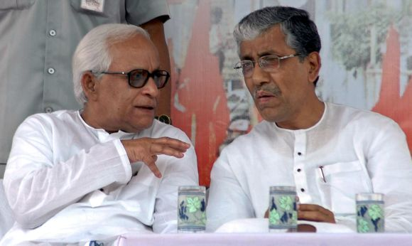 Former chief minister of West Bengal Buddhadeb Bhattacharya with Chief Minister of Tripura Manik Sarkar