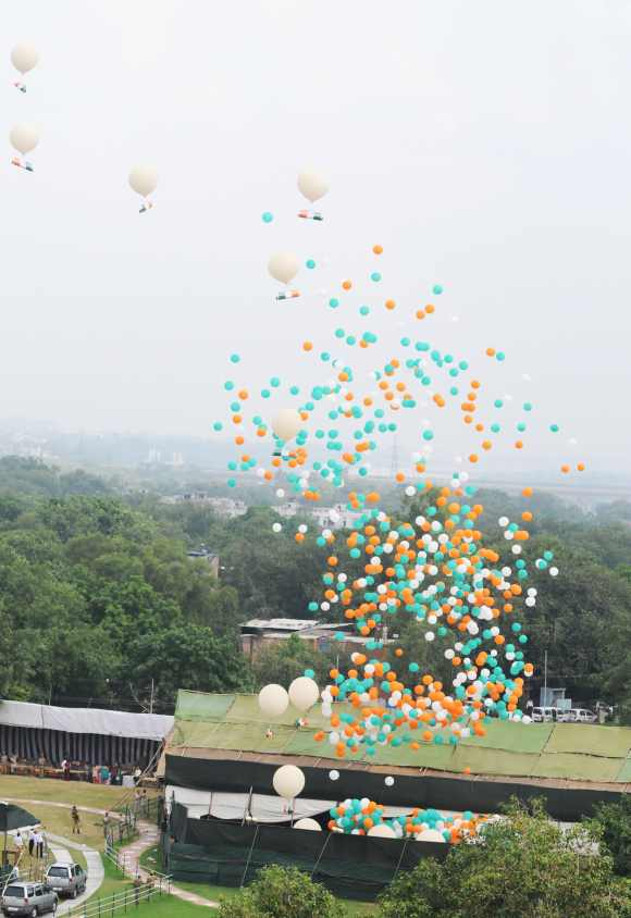 Tricolour balloons are released in the sky after PM's I-Day speech