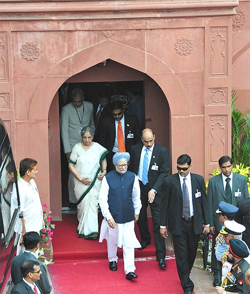 Dr Manmohan Singh arrives at Red Fort to address the Nation on the occasion of 66th Independence Day