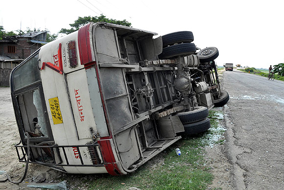 Miscreants went on a rampage and damaged a bus in Assam