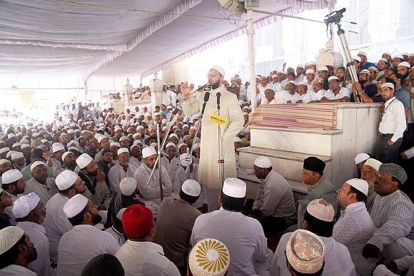 MP Asaduddin Owaisi addressing a gathering at Hyderabad's Mecca Masjid on Friday