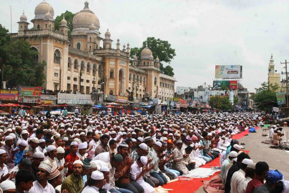 Thousands of devotees gathered at the historic Mecca Masjid to offer namaz on the last Friday of the holy month of Ramzan