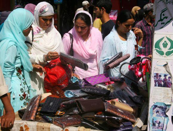 Women were seen busy marketing ahead of Eiul-Fitr celebrations in Srinagar
