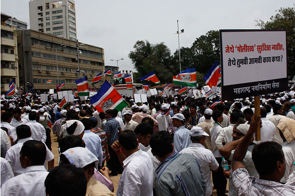MNS supporters gather in large numbers at Chowpatty