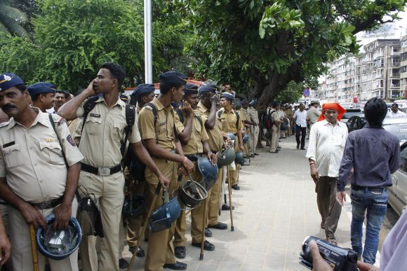 Stringent security measures were put in place during MNS' protest march and rally in Mumbai on Tuesday