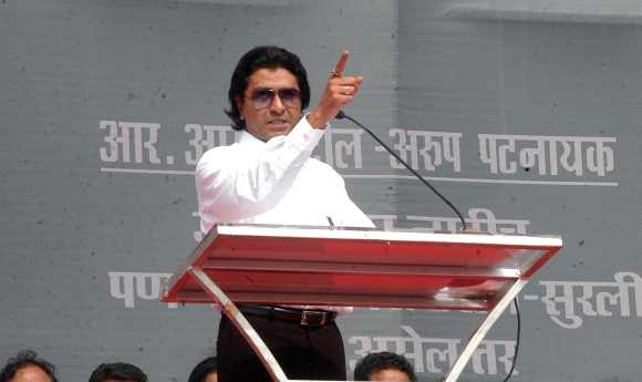MSN chief Raj Thackeray addresses crowds at a rally at Azad Maidan