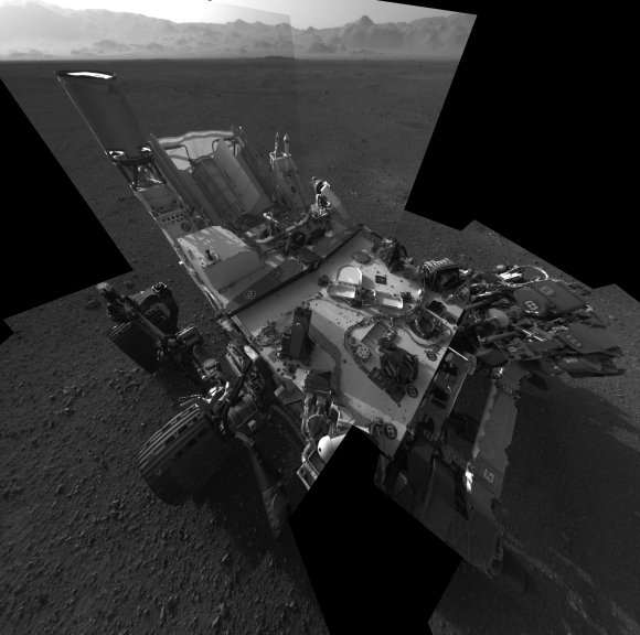 This full-resolution self-portrait courtesy of NASA shows the deck of the Curiosity rover from the rover's Navigation camera