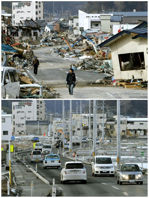 The tsunami-devastated Yamada town in Iwate prefecture is seen in two images taken on March 14, 2011 (top) and March 1, 2012, in this combination photo