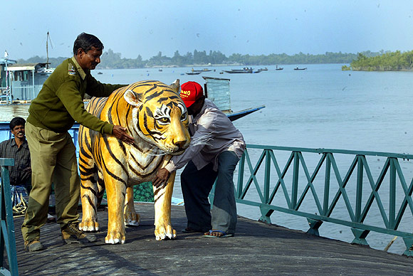 Forest guards hold a model of a tiger at the Sanzekhali tiger reserve in the Sunderbans magrove forest delta