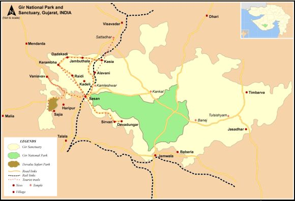 The map of Gir national park and sanctuary in Gujarat