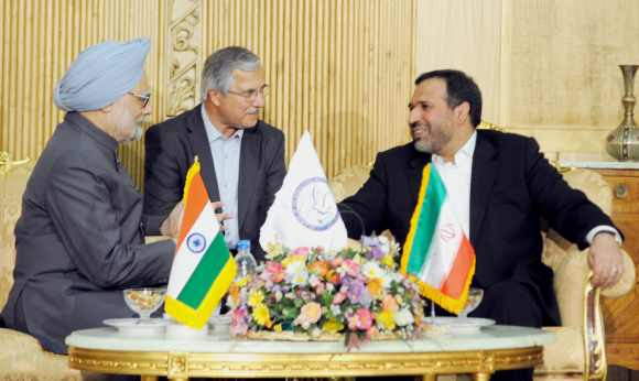 Dr Singh with Iran's Minister Economic Affairs and Finance Dr Seyed Shamseddin Hosseini in Tehran