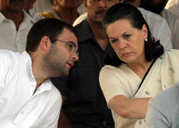 Congress Vice President Rahul Gandhi with his mother and party chief Sonia