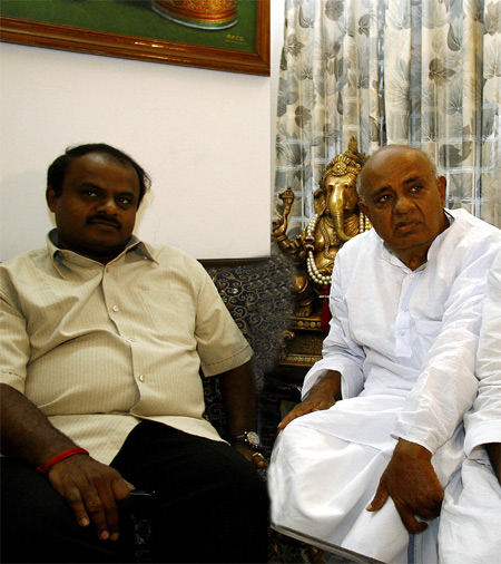 H D Kumaraswamy with his father Deve Gowda