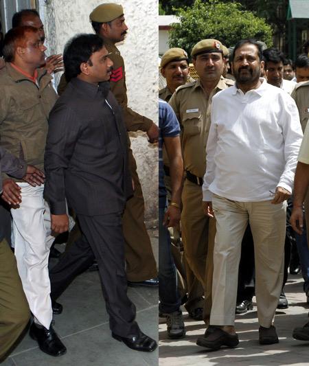 Former telecom minister A Raja and Pune MP Suresh Kalmadi