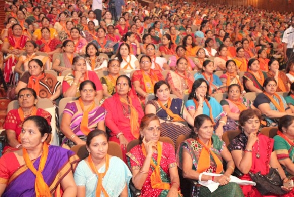 Women at an event chaired by Narendra Modi