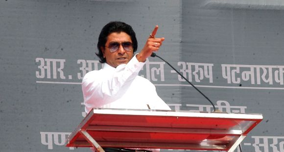 MNS chief Raj Thackeray addressing a rally in Mumbai