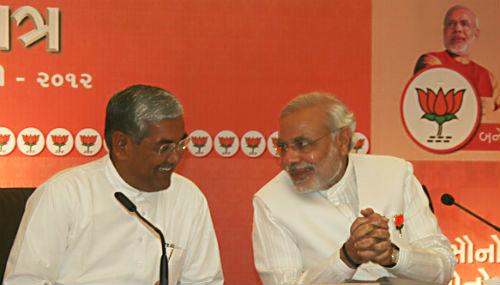 State unit BJP president R C Faldu with Gujarat Chief Minister Narendra Modi