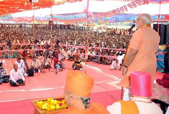 Narendra Modi at a rally in Kheda District