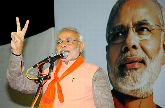 Gujarat Chief Minister Narendra Modi at an election rally
