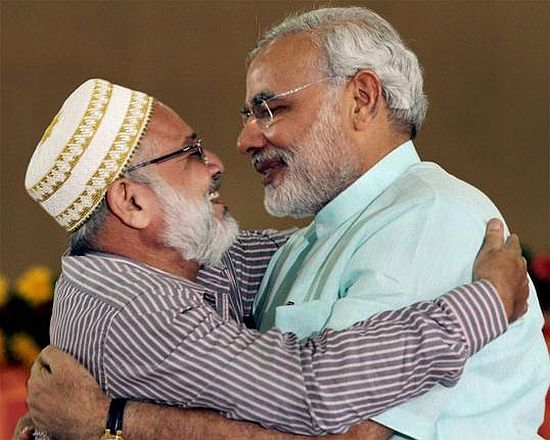 A Muslim leader greets Narendra Modi during his 72-hour Sadbhavana Mission fast in Ahmedabad in September 2012.